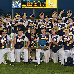 Staff photos by Tom Kelly IV<br /> Devon Prep players pose with the trophy following the Devon Prep vs Elk County Catholic in the PIAA single A Championship game in State College on Friday afternoon, June 13, 2014 due to a rain storm moving through.