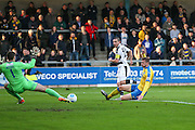 Forest Green Rovers Liam Noble(15) shoots at goal, goalkeeper makes a save during the Vanarama National League match between Torquay United and Forest Green Rovers at Plainmoor, Torquay, England on 26 December 2016. Photo by Shane Healey.