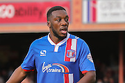 Carlisle United defender Troy Archibald-Henville during the Sky Bet League 2 match between York City and Carlisle United at Bootham Crescent, York, England on 19 September 2015. Photo by Simon Davies.