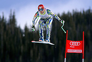 SHOT 12/1/11 12:42:50 PM - Slovenian skiier Andrej Jerman launches himself off the Red Tail jump during men's downhill training on the Birds of Prey course at the Audi FIS World Cup on December 1, 2011 in Beaver Creek, Co. (Photo by Marc Piscotty / © 2011)