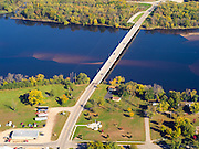 Aerial view of the Highway 80 bridge crossing the Wisconsin River, Muscoda, Wisconsin.