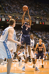 UVA's J.R. Reynolds (2) with a jump shot against UNC.  Reynolds had a team high 15 points, however, the #1 ranked Tar Heels beat the Cavaliers 79-69 to improved to 15-1 overall, 2-0 ACC on January 10, 2007 at the Dean Smith Center in Chapel Hill, NC...<br />