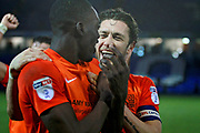 Southend United defender Ben Coker (3) celebrates after the EFL Sky Bet League 1 match between Peterborough United and Southend United at London Road, Peterborough, England on 3 February 2018. Picture by Nigel Cole.
