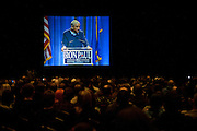 GOP presidential candidate Rep. Ron Paul speaks to a crowd of over 750 at a campaign rally at the Grand Sierra Resort in Reno, Nev., February 2, 2012.