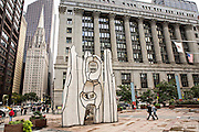 Monument with Standing Beast abstract art sculpture by Jean Dubuffet outside the James R. Thompson Center in Chicago, IL.
