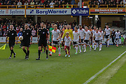 The teams come out  during the Sky Bet League 1 match between Bradford City and Sheffield Utd at the Coral Windows Stadium, Bradford, England on 20 September 2015. Photo by Simon Davies.