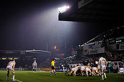 The sides scrum down in the rain during the second half of the match - Photo mandatory by-line: Rogan Thomson/JMP - Tel: Mobile: 07966 386802 25/01/2013 - SPORT - RUGBY - Memorial Stadium - Bristol. Bristol v Leeds Carnegie - RFU Championship.