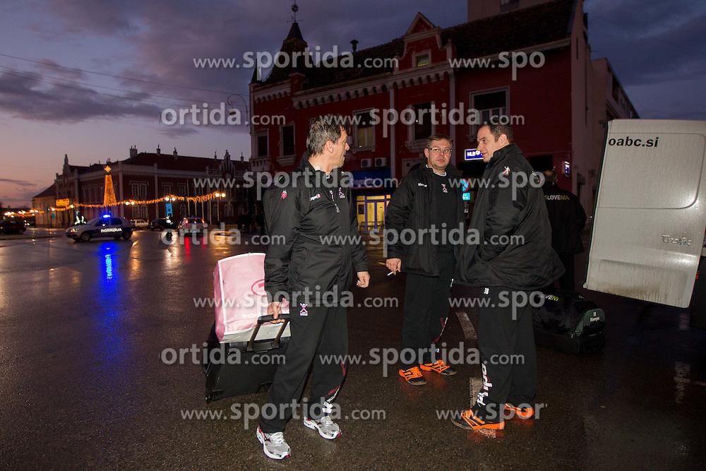 Bojan Cotar, Gorazd Zuzek and Sokol Kadrija at arrival of Slovenia Men Handball team to the 10th EHF European Handball Championship Serbia 2012, on January 14, 2012 at Hotel Serbia, Vrsac, Serbia.  (Photo By Vid Ponikvar / Sportida.com)