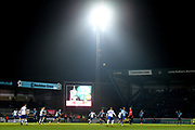 Adams Park showing the FA Cup on the screen during play during the The FA Cup match between Wycombe Wanderers and Tranmere Rovers at Adams Park, High Wycombe, England on 20 November 2019.