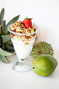 Healthy snack Yogurt and fruit Garnished with oats and honey