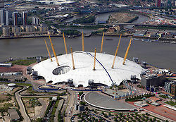 Image &copy;Licensed to i-Images Picture Agency. Aerial views. United Kingdom.<br /> the Millenium Dome, London. Picture by i-Images