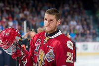 REGINA, SK - MAY 27: Olivier Galipeau #26 of Acadie-Bathurst Titan lines up against the Regina Pats at the Brandt Centre on May 27, 2018 in Regina, Canada. (Photo by Marissa Baecker/CHL Images)