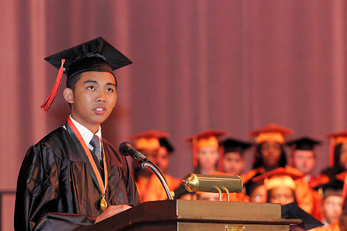 Senior Zet Arcilla speaks during the Stivers School For The Arts commencement at the Dayton Masonic Center, Saturday, May 19, 2012.