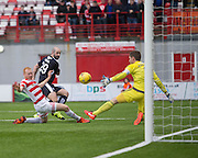 Dundee&rsquo;s Gary Harkins scores his side;s consolation goal - Hamilton v Dundee, Ladbrokes Scottish Premiership at New Douglas Park<br />  <br />  - &copy; David Young - www.davidyoungphoto.co.uk - email: davidyoungphoto@gmail.com