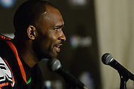 """MANCHESTER, ENGLAND, NOVEMBER 26, 2013: Jimi Manuwa is pictured at the post-fight press conference for """"UFC Fight Night 30: Machida vs. Munoz"""" inside Phones4U Arena in Manchester, England (© Martin McNeil)"""
