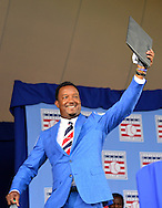 COOPERSTOWN, NY - JULY 26: Hall of Fame Inductee Pedro Martínez waves while taking the stage during the Induction Ceremony at National Baseball of Hall of Fame on July 26, 2015 in Cooperstown, New York. (Photo by Jennifer Stewart/Arizona Diamondbacks/Getty Images)