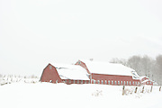 barn with ventilators, snowfall, snow load breaking on roof