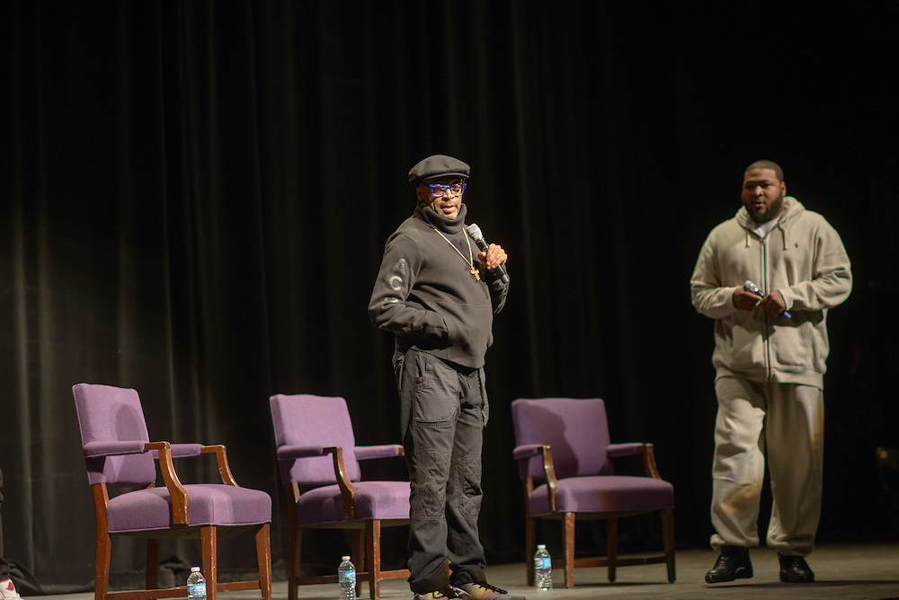 """Spike Lee talks following the screening of his film """"Chi-Raq"""" Wednesday, March 2, 2016, at Northwestern University's Cahn Auditorium in Evanston. (Photo by Rob Hart for Northwestern University)"""