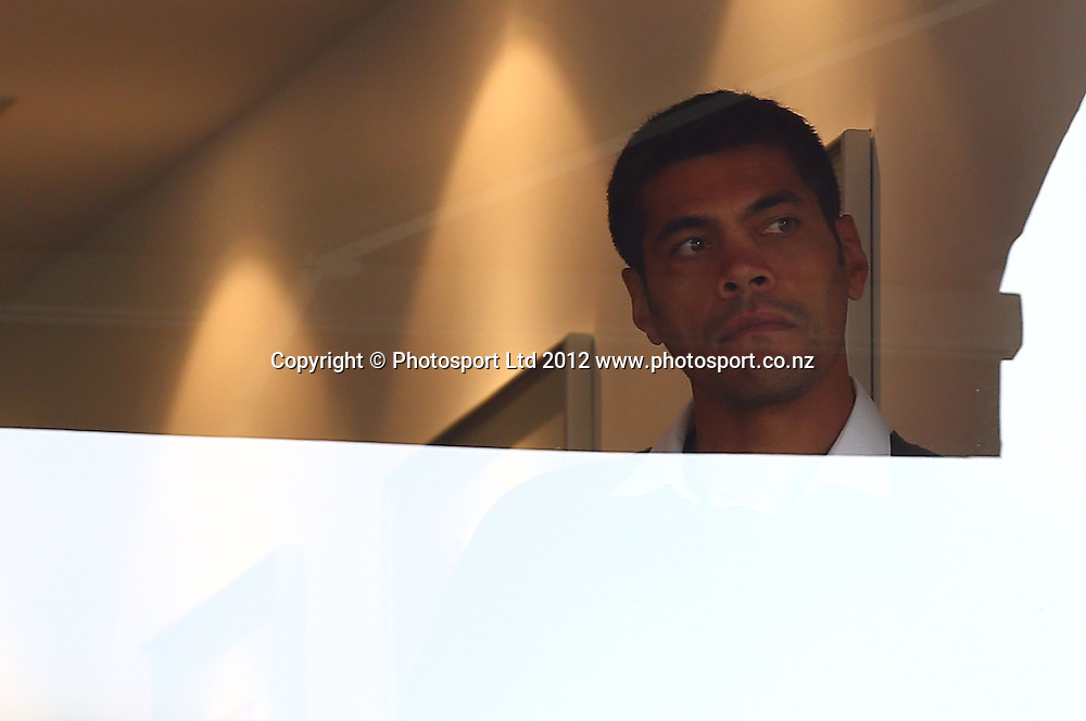 Stephen Kearney watches the Warriors loose from the Warriors hospitality box during the NRL game, Vodafone Warriors v Penrith Panthers, Mt Smart Stadium, Auckland, Sunday 19 August  2012. Photo: Simon Watts /photosport.co.nz