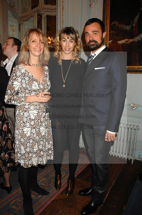 Left to right, SABRINA GUINNESS, ASSIA WEBSTER and EVGENY LEBEDEV at a party to celebrate the publication of 101 World Heroes by Simon Sebag-Montefiore at The Savile Club, 69 Brook Street, London W1 on 9th October 2007.<br />