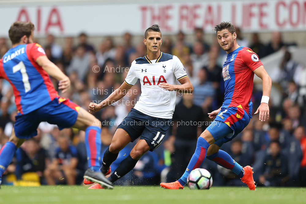 Erik Lamela of Tottenham Hotspur &copy; in action.  Premier league match, Tottenham Hotspur v Crystal Palace at White Hart Lane in London on Saturday 20th August 2016.<br /> pic by John Patrick Fletcher, Andrew Orchard sports photography.