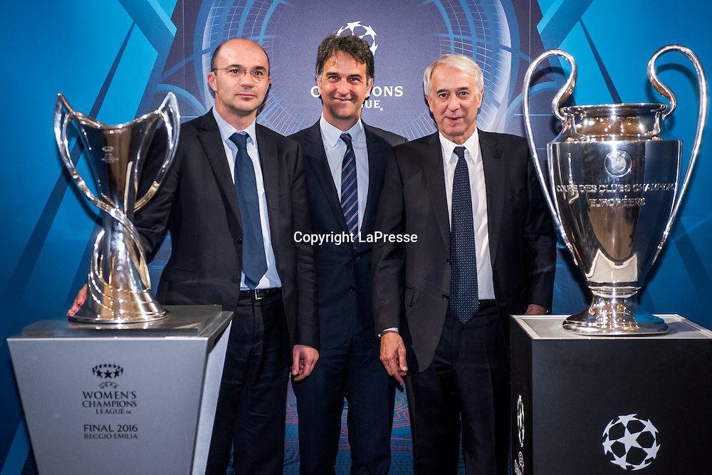 22-04-2016 Milan, Italy.<br /> Opening of the exhibition of the UEFA Champions League Cup at Palazzo Marino.<br /> Photo credit: Cruciatti / LaPresse<br /> In the Photo: Luca Vecchi, Michele Uva, Giuliano Pisapia
