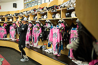 KELOWNA, CANADA - OCTOBER 15: Kelowna Rockets' dressing room on October 15, 2016 at Prospera Place in Kelowna, British Columbia, Canada.  (Photo by Marissa Baecker/Shoot the Breeze)  *** Local Caption ***