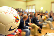 Soccer ball with autographs while press conference in The Polish Baltic Fr&eacute;d&eacute;ric Chopin Philharmonic in Gdansk, Poland.<br /> A few hours before friendly match between Lechia Gdansk and FC Barcelona.<br /> <br /> Poland, Gdansk, July 30, 2013<br /> <br /> Picture also available in RAW (NEF) or TIFF format on special request.<br /> <br /> For editorial use only. Any commercial or promotional use requires permission.<br /> <br /> Photo by &copy; Adam Nurkiewicz / Mediasport