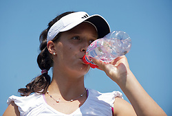 LONDON, ENGLAND - Monday, June 28, 2010: Laura Robson (GBR) takes a drink during the Girls' Singles 1st Round match on day seven of the Wimbledon Lawn Tennis Championships at the All England Lawn Tennis and Croquet Club. (Pic by David Rawcliffe/Propaganda)