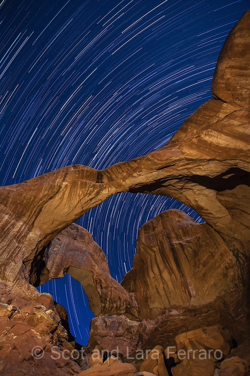 Star trails taken at Double Arch in Arches National Park, Utah.