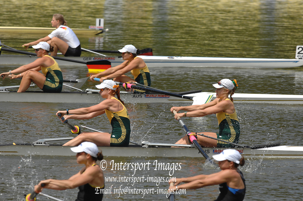 Amsterdam, HOLLAND,AUS W2- at the start, fourground AUS2 Bow Sally KEHOE and Kate HORNSEY, Bow Kim CROW and Sarah COOK, at the 2007 FISA World Cup Rd 2 at the Bosbaan Regatta Rowing Course. 23.06.2007[Mandatory Credit: Peter Spurrier/Intersport-images]...... , Rowing Course: Bosbaan Rowing Course, Amsterdam, NETHERLANDS