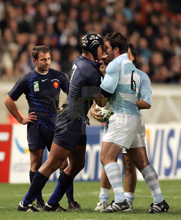 Rugby World Cup, France v Argentina, 19 October 2007. Thierry Dusautoir and Martin Durand tussle at the Parc des Princes, Paris, France. Friday 19 October 2007. Photo: Ron Gaunt/Sportzpics.net