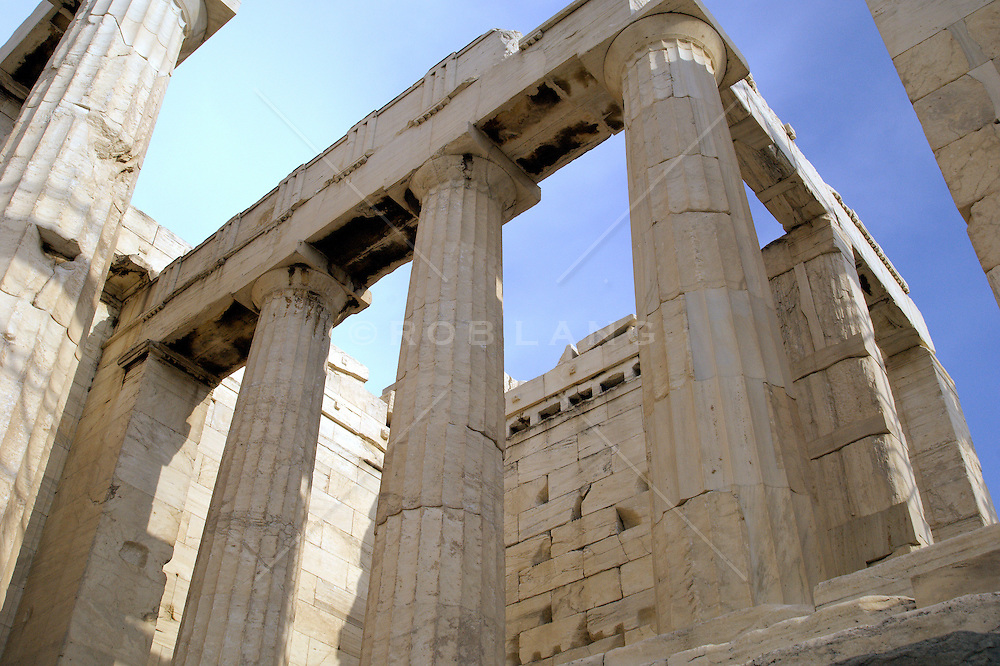 detail of The Parthenon at The Acropolis in Athens, Greece