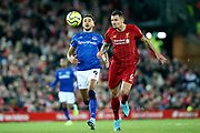 Everton forward Dominic Calvert-Lewin (9) and Liverpool defender Dejan Lovren (6) during the Premier League match between Liverpool and Everton at Anfield, Liverpool, England on 4 December 2019.