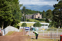 The castle from the site. The first campers arrive at T in the Park 2016.