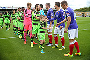 Respect handshake during the EFL Sky Bet League 2 match between Forest Green Rovers and Exeter City at the New Lawn, Forest Green, United Kingdom on 9 September 2017. Photo by Shane Healey.