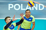 Katowice, Poland - 2017 September 02: Partner Sergei Jampolski from SO Russia receives the ball while SO Russia versus SO Czech Republic semifinal match during European Unified Volleyball Tournament 2017 at Spodek Hall on September 02, 2017 in Katowice, Poland.<br /> <br /> Adam Nurkiewicz declares that he has no rights to the image of people at the photographs of his authorship.<br /> <br /> Picture also available in RAW (NEF) or TIFF format on special request.<br /> <br /> Any editorial, commercial or promotional use requires written permission from the author of image.<br /> <br /> Image can be used in the press when the method of use and the signature does not hurt people on the picture.<br /> <br /> Mandatory credit:<br /> Photo by &copy; Adam Nurkiewicz / Mediasport