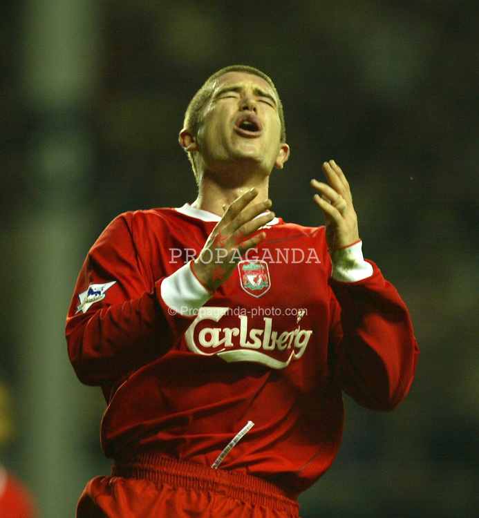 LIVERPOOL, ENGLAND - Saturday, January 10, 2004: Liverpool's Harry Kewell rues a missed chance against Aston Villa during the Premiership match at Anfield. (Photo by David Rawcliffe/Propaganda)