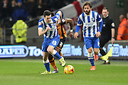 Brighton winger, Jamie Murphy (15) makes headway up the field during the Sky Bet Championship match between Hull City and Brighton and Hove Albion at the KC Stadium, Kingston upon Hull, England on 16 February 2016. Photo by Ian Lyall.