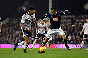 Fulham defender Ryan Fredericks (02) taking on Derby County defender Marcus Olsson (29) during the EFL Sky Bet Championship match between Fulham and Derby County at Craven Cottage, London, England on 17 December 2016. Photo by Matthew Redman.