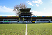 Kingsmeadow/ Cherry Red Records Stadium dugouts and old scoreboard during the EFL Sky Bet League 1 match between AFC Wimbledon and Fleetwood Town at the Cherry Red Records Stadium, Kingston, England on 8 February 2020.