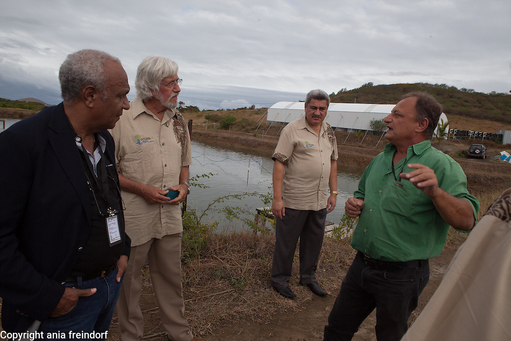 Aquaculture of sea cucumbers in New Caledonia,  breeding company in Ouenghi region, during the visit of various heads of pacific state, in the goal of possible future collaboration. (Right) Laurent Ventrillon, General Manager and owner of the company, (Center) Jean Michel Cousteau