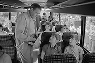 Striking miner's children leaving for a holiday in France courtesy of CGT. 29/07/1984