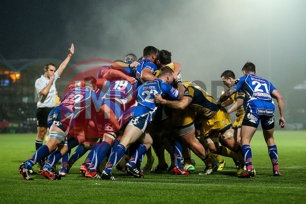 Worcester Warriors are awarded a penalty and eventually a penalty try at the scrum - Rogan Thomson/JMP - 10/12/2016 - RUGBY UNION - Sixways Stadium - Worcester, England - Worcester Warriors v Newport Gwent Dragons - European Rugby Challenge Cup.