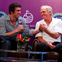 HAIKOU, CHINA - OCTOBER 27:  (L-R) Multiple Olympic gold medalist Michael Phelps of USA and golf legend Greg Norman of Australia attend the opening press conference of the Mission Hills Star Trophy on October 27, 2010 in Haikou, China. The Mission Hills Star Trophy is Asia's leading leisure liflestyle event and features Hollywood celebrities and international golf stars.  Photo by Victor Fraile / studioEAST