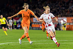 (L-R) Vivianne Miedema of the Netherlands women, Maja Kildemoes of Denmark women during the FIFA Women's World Cup 2019 play off first leg qualifying match between The Netherlands and Denmark at the Rat Verlegh stadium on October 05, 2018 in Breda, The Netherlands
