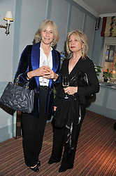 Left to right, PRU COOPER and CAROLINE SMITH at a evening with fashion label Lilah held at Quo Vadis, 26-29 Dean Street, London W1 on 29th May 2013.