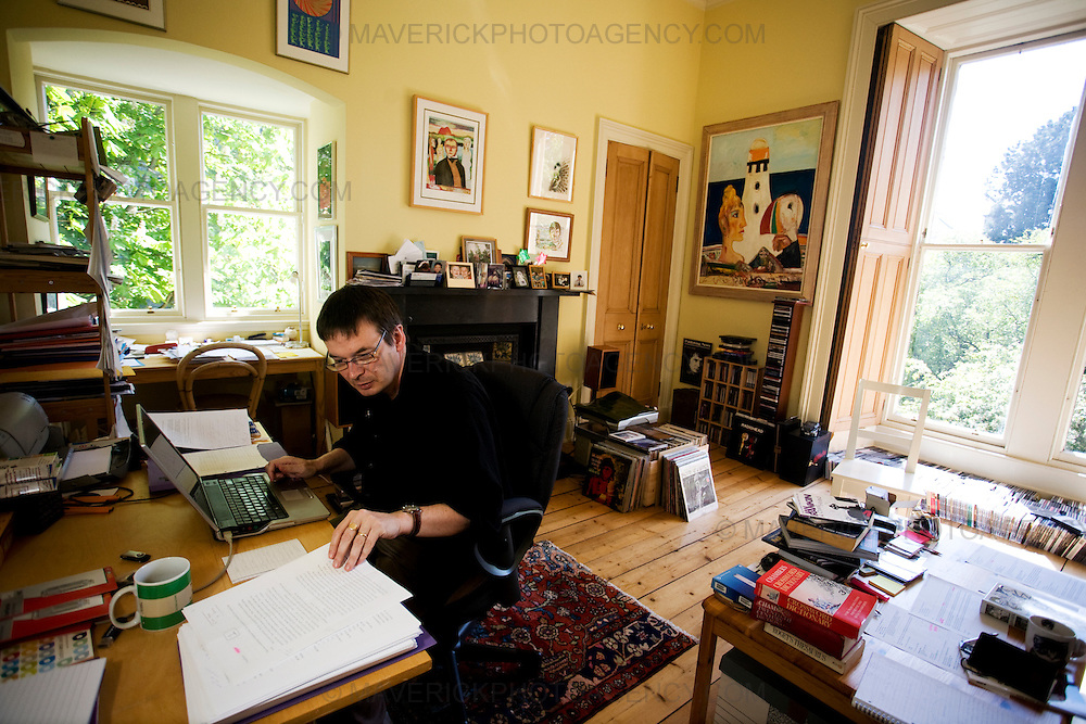 Ian Rankin,Scottish Author and creator of the Inspector Rebus novels works at his laptop in his home office in Edinburgh..Picture Michael Hughes/Maverick