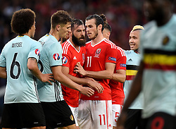 Wales players Gareth Bale, Joe Ledley and James Chester  set up for a set piece  - Mandatory by-line: Joe Meredith/JMP - 01/07/2016 - FOOTBALL - Stade Pierre Mauroy - Lille, France - Wales v Belgium - UEFA European Championship quarter final
