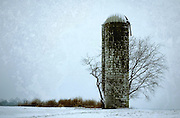 A lone, decaying and no longer used silo stands against the winter weather in rural farmland in South Jersey.